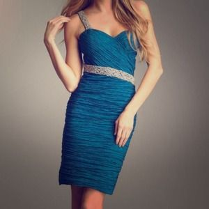 One shoulder blue cocktail dress