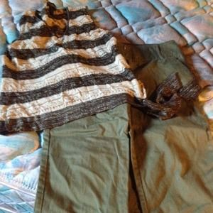 Dress tops, 2 t-shirts, pants and capris