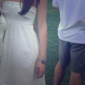 Strapless white linen dress