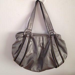 Nine and Co Nine West Silver Zipper Detail Handbag