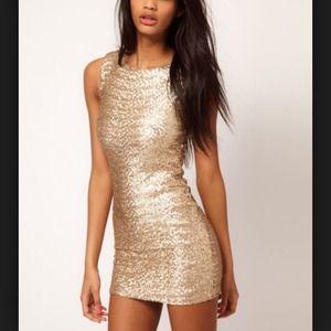 ASOS TFNC Gold Sequin Dress