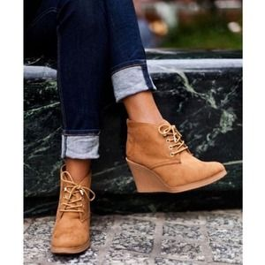 Boots - Suede Lace Up Wedges