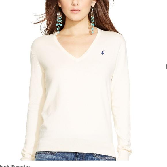 Ralph Lauren - Ralph Lauren Sport Womens V-Neck Cotton Sweater ...
