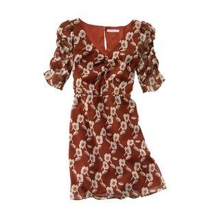 Madewell rust orange floral silk dress