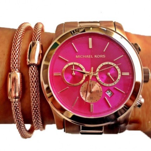 Michael Kors Accessories - Mk Runway Pink Dial Rose Gold-tone watch