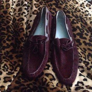 Lambertson TRUEX  pony fur burgundy shoes.