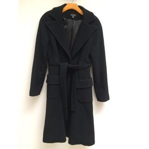 🎉 HP🎉 Bebe Black Wool Cashmere Trench Coat