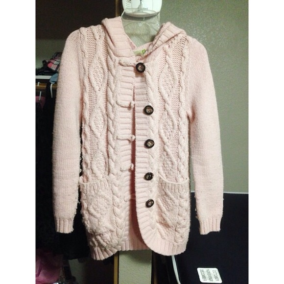 52% off Sweaters - Pink button up sweater cardigan cable knit from ...