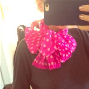 Jill Stuart hot pink &white pokadot scarf chiffon