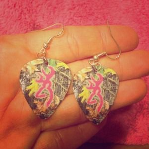 Camo guitar pick earrings 