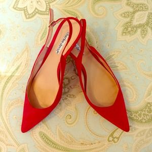 Charles David Shoes - Red Suede Charles David Kitten Heels