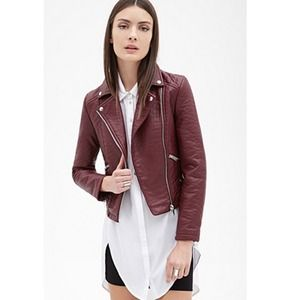 Burgundy Faux Leather Biker Jacket *NEW*