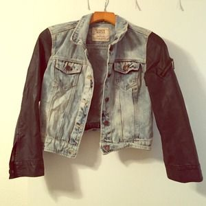 Denim and faux leather jacket