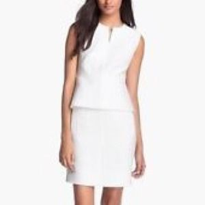 Diane Von furstenberg white linen peplum dress