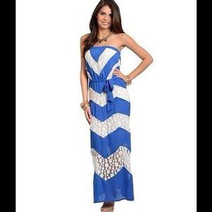 Royal BLUE Strapless CHEVRON Lace MAXI Dress