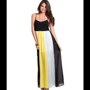 Long color Block Black Silk Summer Maxi Dress