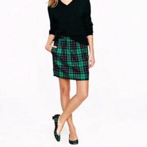 44% off J. Crew Dresses & Skirts - J. Crew green plaid mini skirt ...