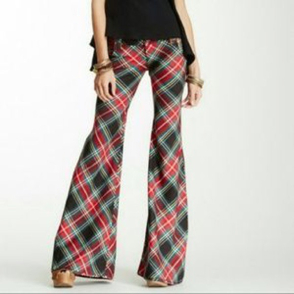 69% off Free People Denim - Free People Flare Red Plaid Pants from ...