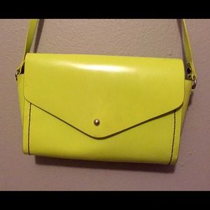 Yellow-green leather crossbody!