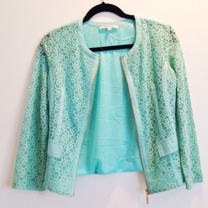 Mint Eyelet Blazer Jacket