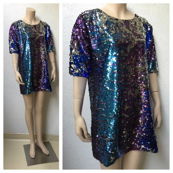 60% off Maison Dresses &amp Skirts - Multi Color Sequin Shirt Dress ...