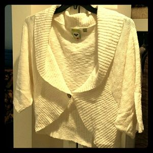 Roxy Ivory-cream Shawl-Collared Cropped Sweater