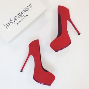 Yves Saint Laurent Shoes - Yves Saint Laurent Red Suede Tribtoo Heels