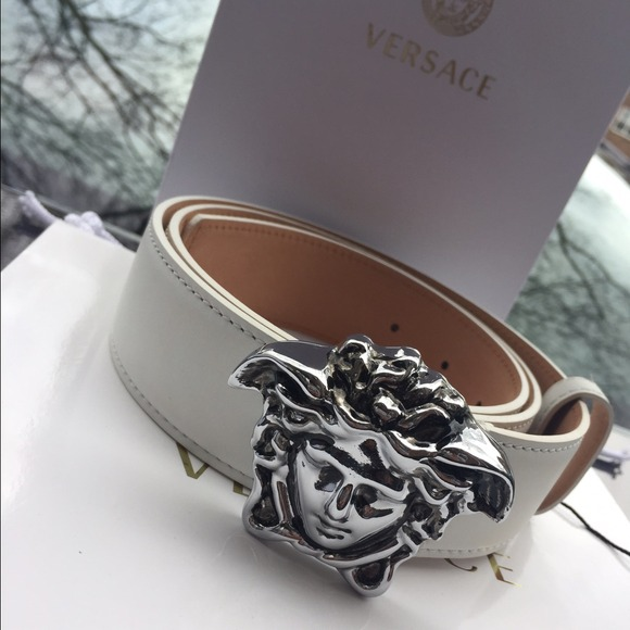 Authentic White Versace Belt Silver Medusa Head Nwt