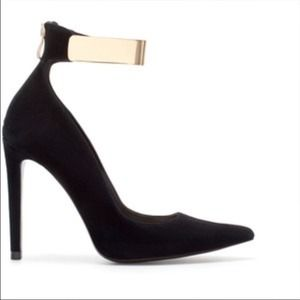 Zara Court Heels with Metallic Gold Ankle Straps