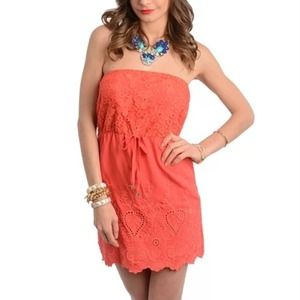 Dresses & Skirts - Cassie coral crochet beach ready dress NWT