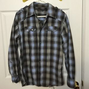 7 Diamonds Tops - 7  Diamonds .blue and brown plaid shirt