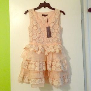 Peach Cream Lace Organza Crochet Cupcake Dress