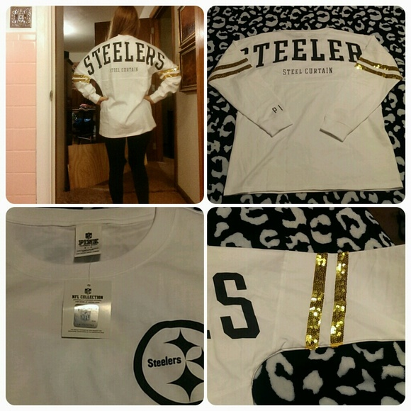 a3d63d0fe Pittsburgh Steelers sequin varsity crew