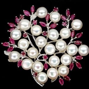 Jewelry - 🎉3xHP🎉NWOT Natural Ruby Pearl 925 Silver Brooch