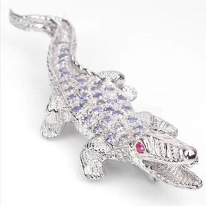 Jewelry - 🎉3xHP🎉NWOT Tanzanite Ruby 925 Silver Croc Brooch