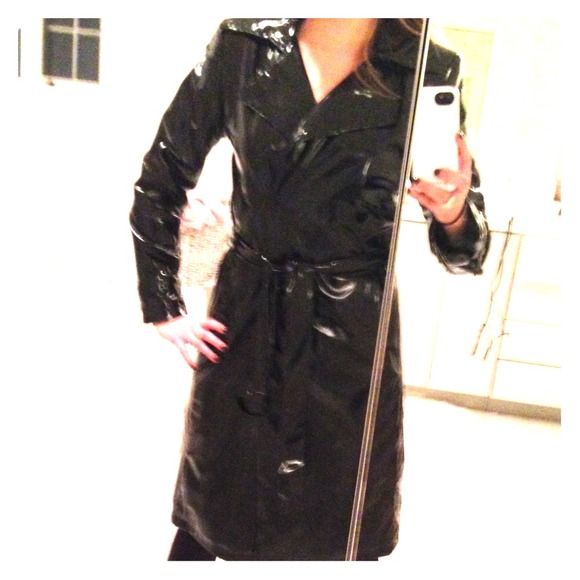 1f6f087aaa42 Calvin Klein Jackets   Blazers - Calvin Klein Black patent leather trench  coat
