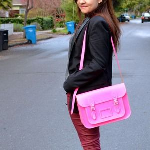 "Cambridge Satchel Handbags - Fluro Neon Pink 13"" Cambridge Satchel"