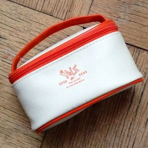 Orange & Off White Small Zip Around Pouch