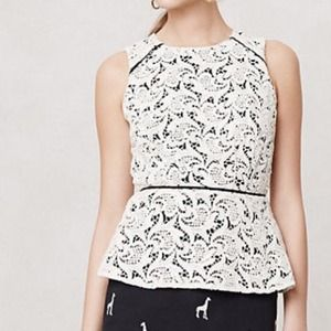 Anthropologie by Maeve Lace Peplum Blouse