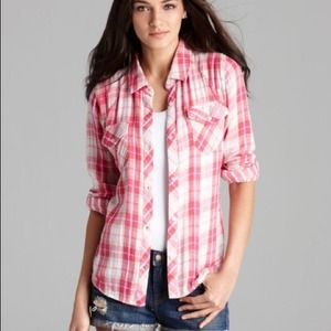 CCO NWT Rails Kendra Plaid Flannel Shirt Pink S