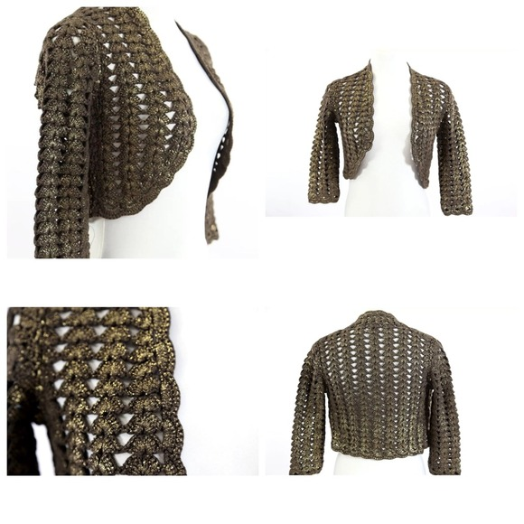 87% off Worth Sweaters - Worth Brown Metallic Gold Shrug Bolero ...