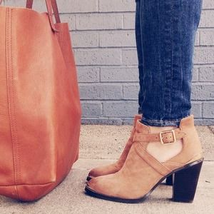 Cutout Booties with Gold Detail