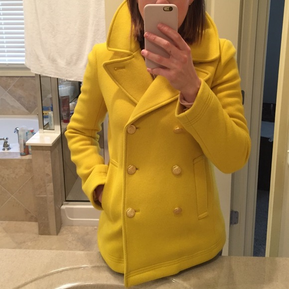 69% off J. Crew Outerwear - J Crew Yellow Peacoat from Jamie's