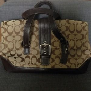 Authentic brown and beige coach handbag