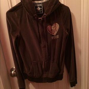 Victoria's Secret brown velour hoodie/pants set