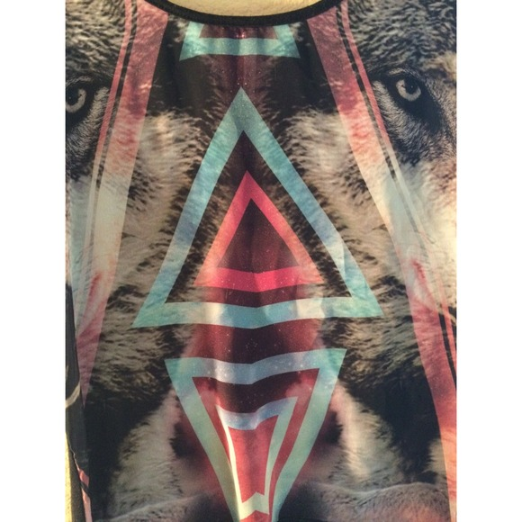 Semi sheer wolf and galaxy print top m from jessica 39 s for Sheer galaxy fabric