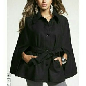 Black Button Up Point Collar Cape Coat Jacket Top