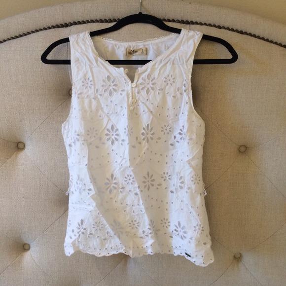 Hollister Tops Cute White Crochet Pattern Tank Top Poshmark