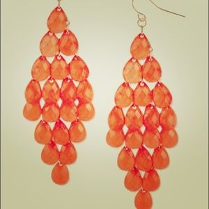 Jewelry - Jennifer Lopez orange teardrop chandelier earrings