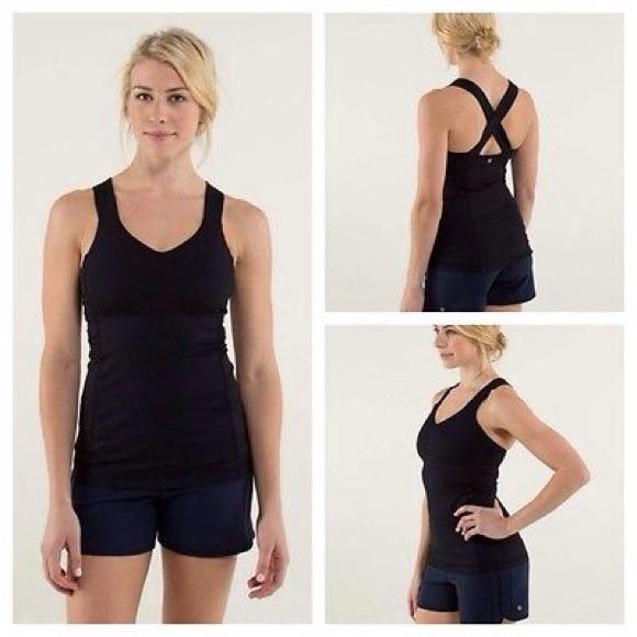 ee93a654c97136 lululemon athletica Tops - Lululemon Black Criss Cross Back Yoga Tank Top